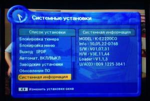 Системная информация ТВ-тюнера Kaon